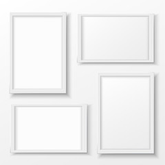 White plastic frame with shadow for text or picture