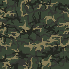 Military camouflage, texture repeats seamless. Camo Pattern for Army Clothing. Green, brown color, fabric hunting.