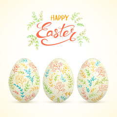 Happy Easter and eggs with colorful floral elements