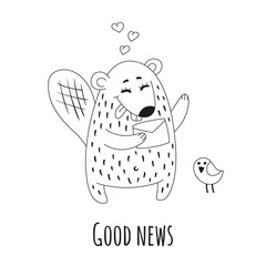 Cute beaver with letter and little bird. Black and white vector illustration.