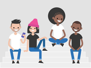 A multicultural group of millennials sitting on the stairs. Generation z, lifestyle illustration. Flat editable vector, clip art