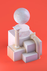 3d rendering of still life with bent columns, marble sphere and simple cubic form on orange background