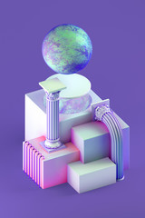 3d rendering of still life with bent columns, simple cubic form and stylized planet on purple background