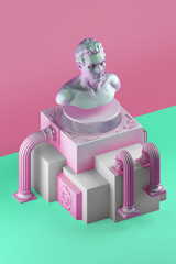 3d rendering of still life with bust statue, bent columns and simple cubic form on splitted into pink and green color background