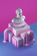3d rendering of still life with bust statue, bent columns and simple cubic form on splitted into pink and blue color background