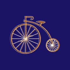 Penny-farthing icon  isolated on  background. antique old bicycle with big wheels.
