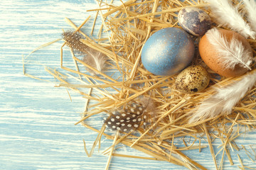 Nest with Easter eggs on blue wooden background, top view with copy space