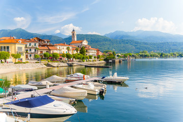 View of little village of Feriolo, on Lake Maggiore, in Piedmont region, north Italy.