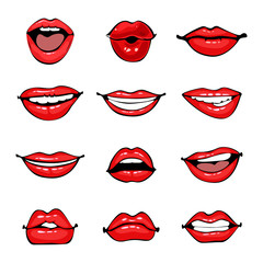 Comic female lips set. Smile, angry, kiss, flirt open and close mouth. Colorful vector illustration in pop art retro comic style.