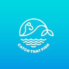 Linear vector logo fish on the hook. Logotype of whale in the sea. Fishing concept