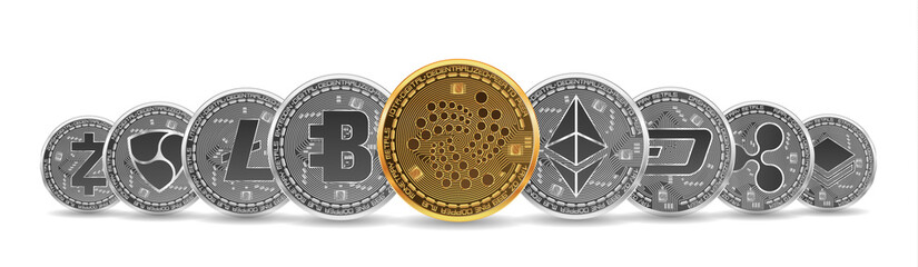 Set of gold and silver crypto currencies with golden iota in front of other crypto currencies as leader isolated on white background. Vector illustration. Use for logos, print products