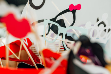 photo booth props for wedding. funny paper faces, lips, glasses and mustache