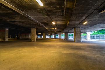 Empty underground garage