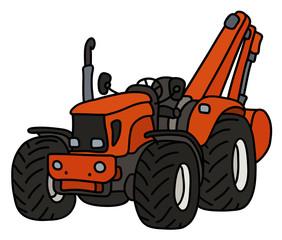 The orange tractor with the excavator