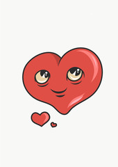 Funny heart character smiling with cartoon style. Vector Illustration