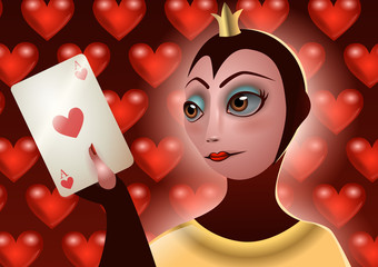 Queen of hearts grabbing a playing card, the ace of hearts over a hearts background. Vector Illustration