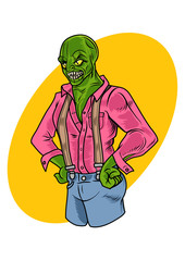 Reptilian character in comic style. Vector Illustration