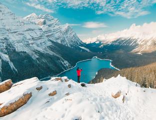 Enjoying the stunning Peyto Lake views in Banff National Park
