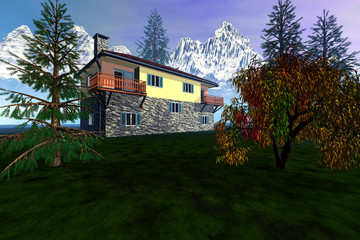 Daylight over the house, grass on the ground, beautiful trees, snowy mountains in the background and a fantastic sky.