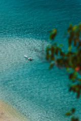 Aerial view of a man swimming in ocean, Waimea Bay, Oahu, Hawaii, America, USA