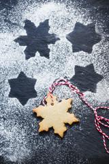 Snowflake and star shape Christmas cookie