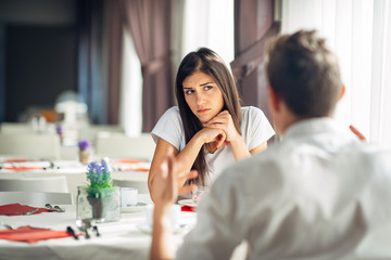 Worried woman doubting.Angry female despise partners actions,agitated person having relationship problems.Revealing the truth.Wandering,not listening conversation.Not convinced.First impression