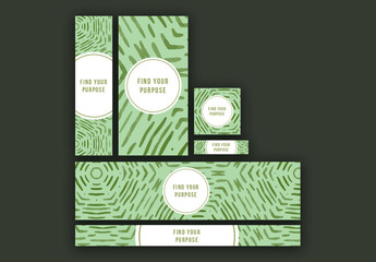 Web Banner Set with Green Brush Stoke Elements