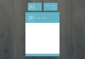 Letterhead and Business Card Set with Blue Accents