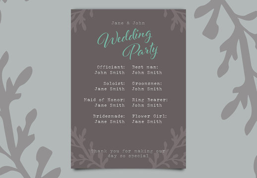 Wedding Program with Gray and Blue Accents