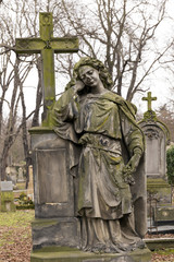 Historic sculpture from the mystery old Prague Cemetery, Czech Republic