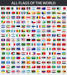 All flags of the world in alphabetical order. Rectangle glossy style
