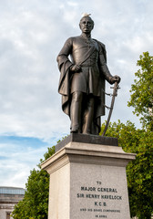 Statue of Major General Henry Havelock located in Trafalgar Square in London, England