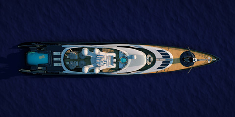 Extremely detailed and realistic high resolution 3D illustration of a luxury super yacht Wall mural
