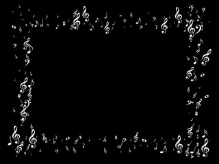 Music Symbols Vector Confetti Flying, Falling. Grayscale Falling Notes, Party, Festival Poster Texture. Melody Background, Music Signs Pattern Decorative Frame. Live Music Symbols Confetti Chaos.