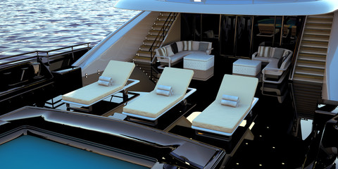Extremely detailed and realistic high resolution 3D illustration of a luxury super yacht Fototapete