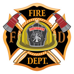 Fire Department Cross Vintage with Yellow Helmet and Axes is an illustration of a vintage fireman or firefighter Maltese cross emblem with a yellow volunteer firefighter helmet.
