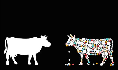 Pills that shape a cow. Symbol for cattle healthcare issues, medicine, pharmacy, antibiotics and diet - isolated vector illustration on black background.