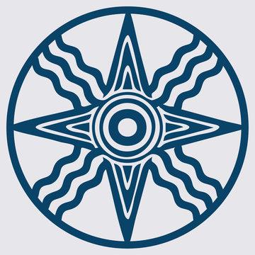 Vector Variant of Old Semitic and Sumerian god Shamash Star. Also symbol of god Utu.