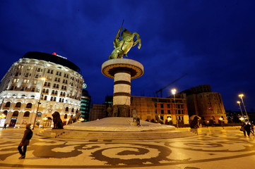 The Warrior on horse monument is seen at Macedonia Square in Skopje