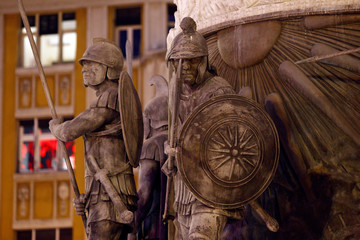 Details from the Warrior on horse monument are seen at Macedonia Square in Skopje