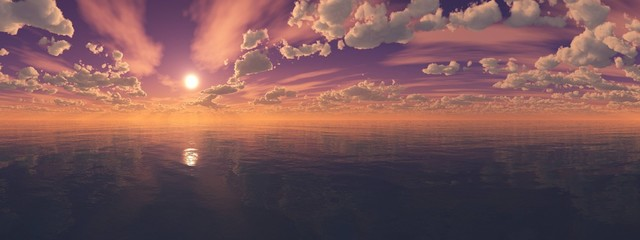 panorama of the sea sunset, sunrise in the ocean
