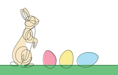 Easter Bunny Continuous line Vector
