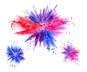 Watercolor explosion, hand drawing. Multicolored paint blots.