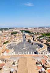 View of the Saint Peter Square, the Vatican and the city of Rome