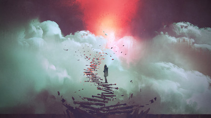Aluminium Prints Grandfailure young woman standing on broken stairs leading up to sky, digital art style, illustration painting