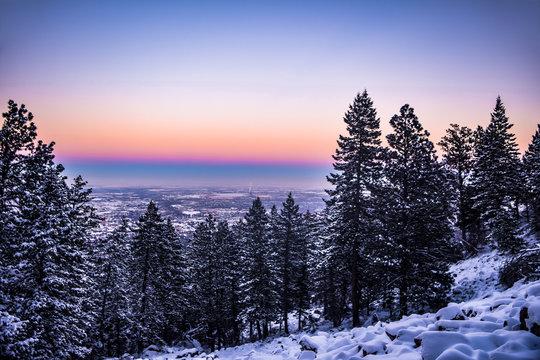 Snowy Sunset in Colorado