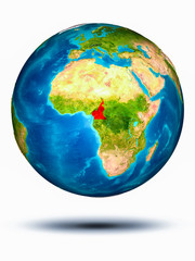 Cameroon on Earth with white background