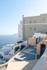 Oia town on Santorini island, Greece. Traditional houses and sea