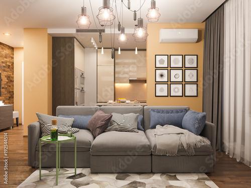 3d Rendering Living Room Interior Design Modern Studio Apartment In The Scandinavian Minimalist Style