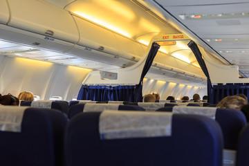 Interior of airplane and passenger seats
